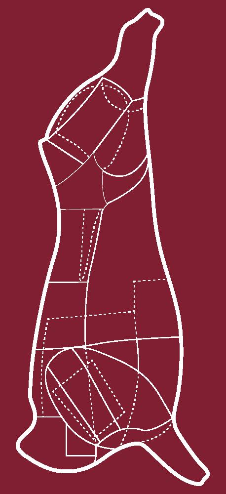 Skizze eines CULT BEEF Rinds, die zeigt, wo sich die Hüfte befindet.