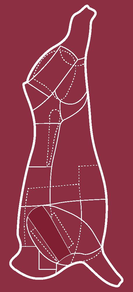 Skizze eines CULT BEEF Rinds, die zeigt, wo sich das Schulterscherzel befindet.