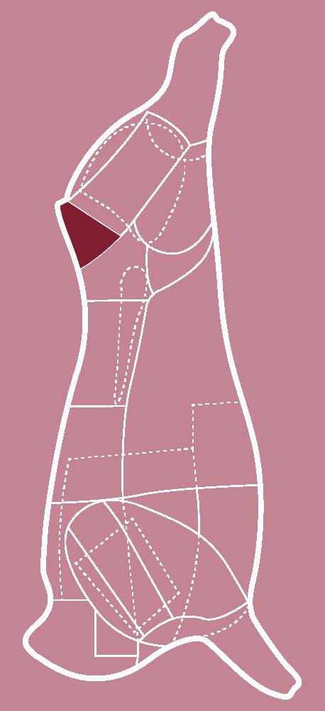 Skizze eines CULT BEEF Rinds, die zeigt, wo sich der Tafelspitz befindet.